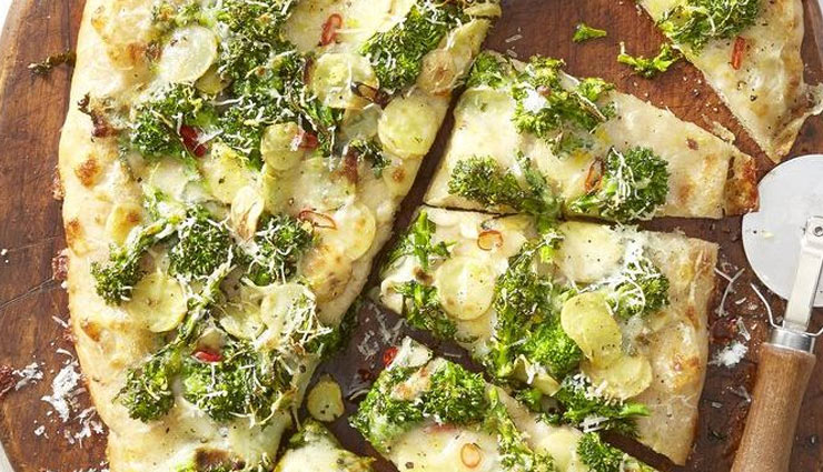 Recipe- Broccoli Rabe and Potato Pizza With Caesar Salad