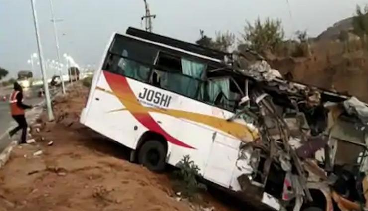 दौसा: बस और ट्रक में जोरदार टक्कर, दोनों पुलिया से  गिरे नीचे, 20 यात्री घायल