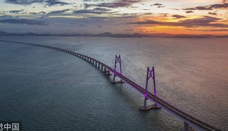 दुनिया का सबसे लंबा समुद्री पुल, लंबाई 55 KM , 8 साल में हुआ तैयार, देखे तस्वीरे