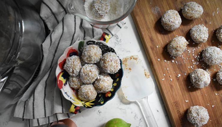 coconut cardamom energy bites,snacks recipe,dessert recipe,sweets recipe,healthy recipe