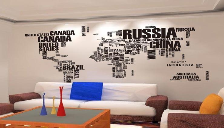 decoration tips,decoration ideas,home decoration,wall decoration,map decoration,map on wall ,डेकोरेशन टिप्स, डेकोरेशन आइडियाज, साज सज्जा के तरीके, दीवारों का आकर्षण, नक्शों की मदद से आकर्षण