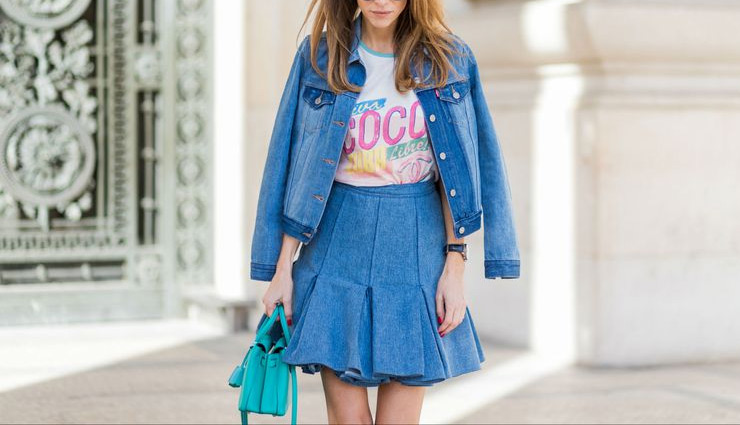 denim skirt,denim skirt fashion,white button down shirt,denim on denim,with leather jacket,boho look,with a sweater,fashion,fashion tips,simple fashion tips