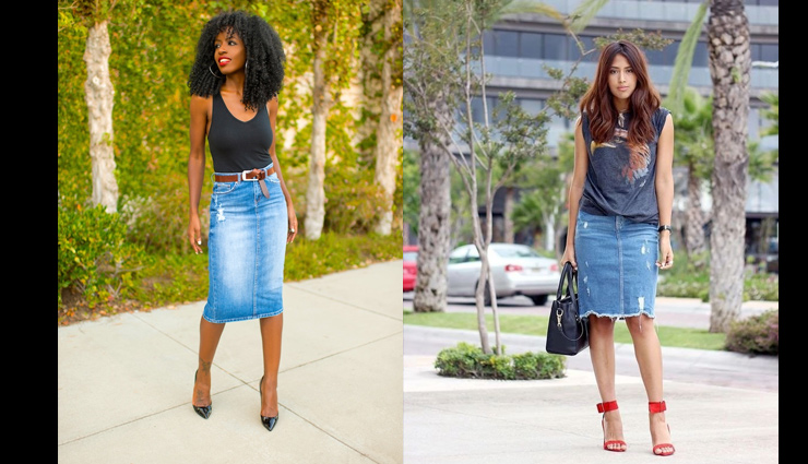 denim pencil skirt,styling denim pencil skirt,tops for denim pencil skirt,styling tips,fashion tips