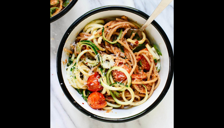 noodles recipe,double tomato pesto spaghetti with zucchini noodles,recipe