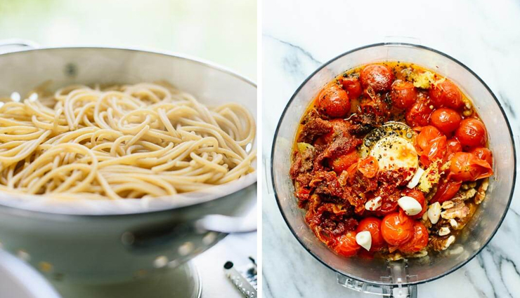 Recipe- Double Tomato Pesto Spaghetti with Zucchini Noodles