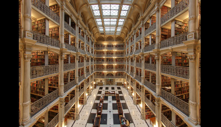 most beautiful libraries in the world,libraries around the world,clementinum,prague,the royal library copenhagen,denmark,george peabody library,johns hopkins university,baltimore,library of congress,washington,central library of vancouver,canada