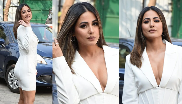 Hina Khan sends temperatures soaring in a chic white dress with a plunging neckline. See pics