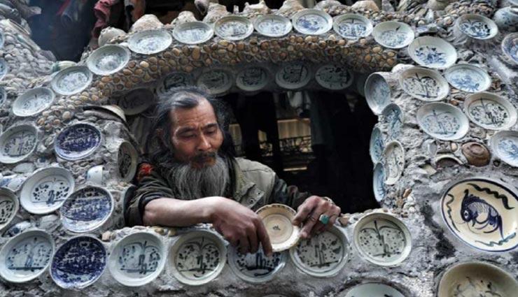 शख्स ने तैयार किया 25 सालों में हजारों चीनी मिट्टी के बर्तनों से घर