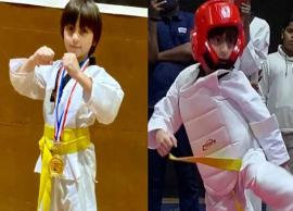 PICS- Shah Rukh Khan shares son AbRam's Taekwondo moment