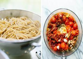 Recipe- Double Tomato Pesto Spaghetti with Zucchini Noodles