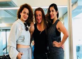 PICS- Kangana Ranaut sweats it out in the gym with her new buddy Sophie Choudry in London-Photo Gallery