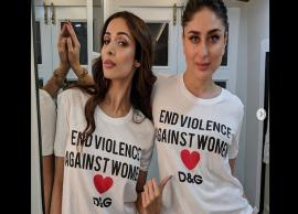 Kareena, Malaika twin in white, but its the caption on their tees which is grabbing the right attention