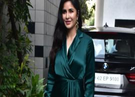Katrina Kaif slays in her emerald green wrap around dress
