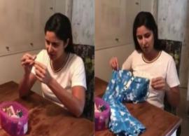 VIDEO- Katrina Kaif excels at Anushka Sharma, Varun Dhawan's Sui Dhaaga challenge