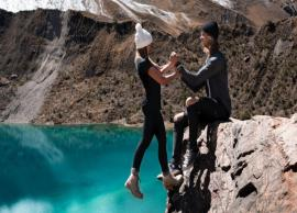 Internet criticizes travel influencer couple for 'dangerous' cliff-hanging photo