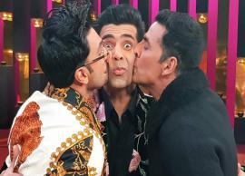 PICS- Akshay Kumar and Ranveer Singh kiss Karan Johar on Koffee With Karan 6