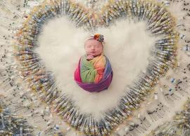 PICS- Miracle baby gets a photo-shoot with 1,616 IVF needles around it