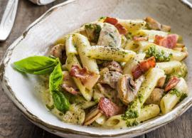 Recipe- Pesto Pasta With Mushrooms And Cherry Tomatoes
