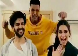 VIDEO- Akshay Kumar grooves with Kartik Aaryan and Kriti Sanon on 'Poster Lagwa Do' of Luka Chuppi