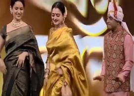 """VIDEO- Rekha recreates her iconic thumkas in Marathi song """"Kutha kutha jayacha honeymoon la"""""""