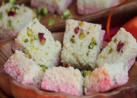 Recipe- Coconut Rose Kalakand for Dessert