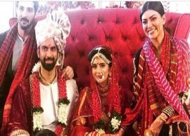 PICS- Sushmita Sen-Rohman Shawl pose with Rajeev Sen-Charu Asopa at the latter's Goa wedding