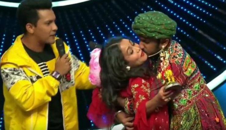 indian idol show,neha kakkar,contestant kiss on neha kakkar,tv news,tv reality show,anu malik,vishal dadlani,kiss,entertainment ,इंडियन आइडल, नेहा कक्कड़, नेहा कक्कड़ इडियन आइडल