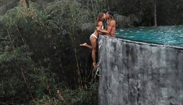 internet criticizes travel influencer couple,dangerous cliff-hanging photo,kelly castille and kody workman