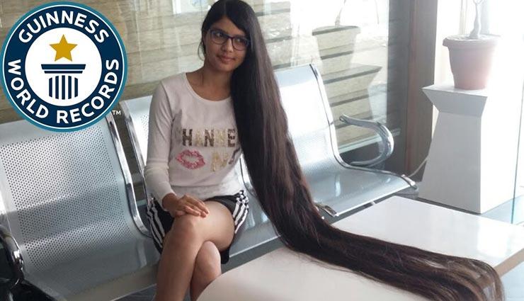 weird news,weird record,nilanshi patel,record of longest hair,guinness world record ,अनोखी खबर, अनोखा रिकॉर्ड, निलांशी पटेल, अबसे लम्बे बालों का रिकॉर्ड