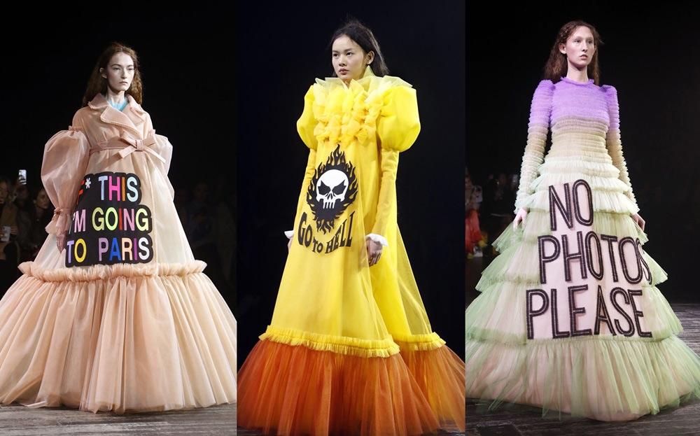 models wear memes,paris fashion show runway,paris,2019 spring-summer haute couture collection fashion show,entertainment