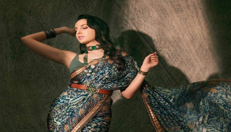 fashion tips,fashion tips in hindi,nora fatehi,celebrity fashion,nora fatehi in floral saree ,फैशन टिप्स, फैशन टिप्स हिंदी में, नोरा फतेही, सेलेब्रिटी फैशन, नोरा फतेही फ़्लोरल साड़ी लुक