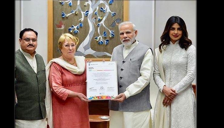 एक नेक काम के लिए पीएम नरेन्द्र मोदी से मिली प्रियंका चोपड़ा