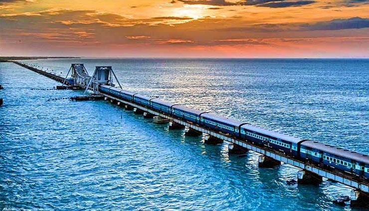खतरनाक ब्रिज में से एक माना जाता है भारत का पमबन रेल रूट