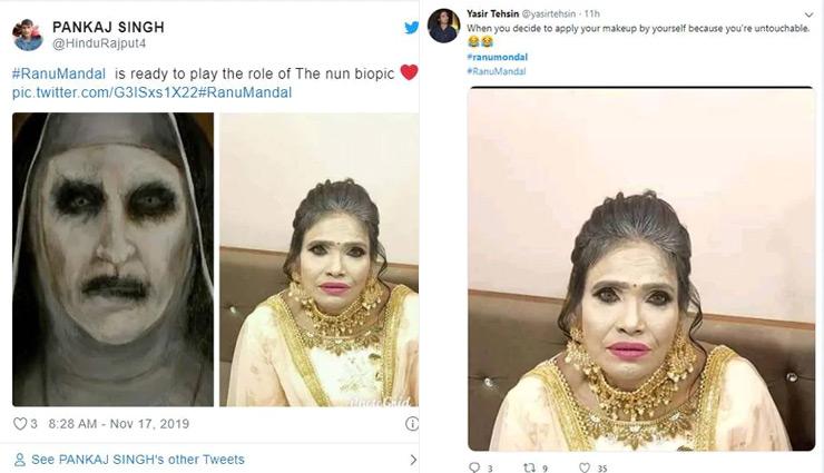 ranu mondal,ranu mondal makeup,ranu mondal viral makeup,ranu mondal weird makeup,social media,entertainment ,रानू मंडल