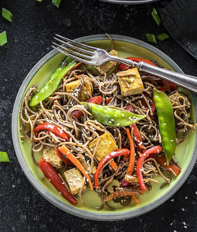 curried tofu,tofu recipe,soba noodles,recipe