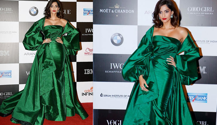sonam kapoor,vogue women of the year awards,amazon green gown,fashion,bollywood