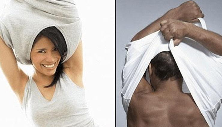 Image result for जानिए क्यों लडकें और लड़कियों के T-Shirt उतारने का अंदाज होता है अलग