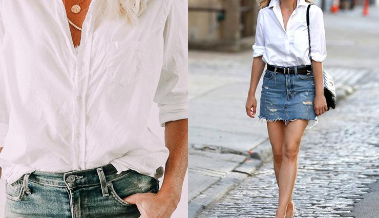denim skirt,denim skirt fashion,white button down shirt,denim on denim,with leather jacket,boho look,with a sweater,fashion,fashion tips,simple fashion tips